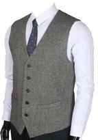Ruth&Boaz 2Pockets 5Buttons Wool Herringbone / Tweed Business Suit Vest (XXL, Tweed black,)