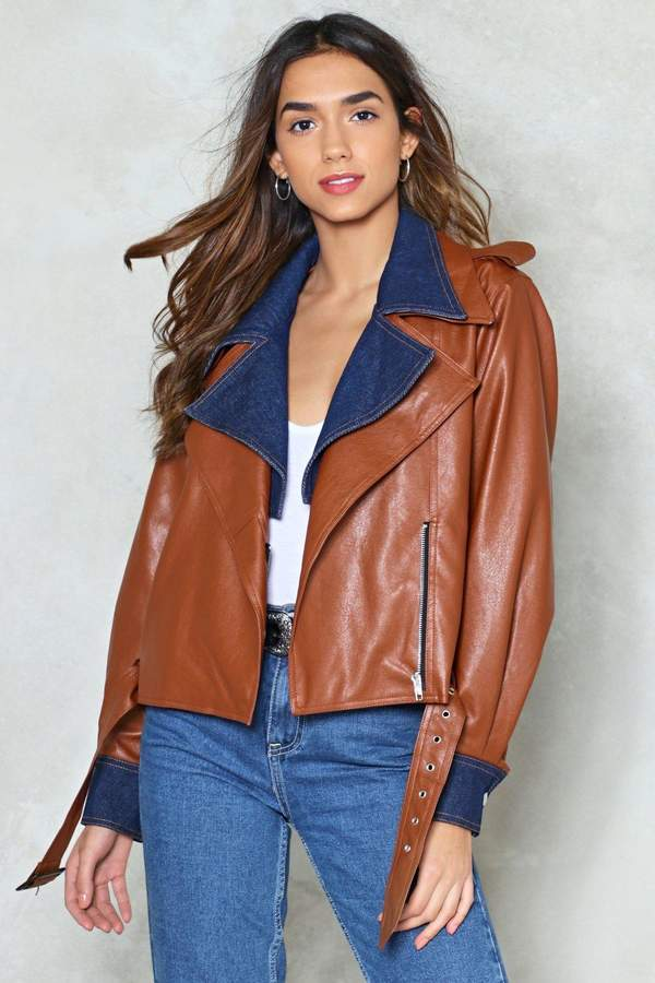Nasty Gal Ride It Out Faux Leather Moto Jacket