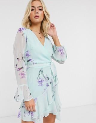 Parisian wrap front dress in mint floral