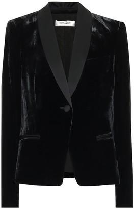 Diane von Furstenberg Hermia velvet and satin blazer