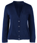 Classic Women's Petite Supima 3/4 Sleeve Dress Cardigan Sweater-Celestial Blue Dot