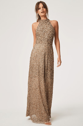 Little Mistress Nicky Hand Embellished Sequin Maxi Dress With Keyhole