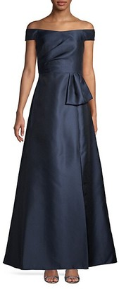 Adrianna Papell Mikado Off-The-Shoulder Gown