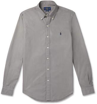 Polo Ralph Lauren Slim-Fit Button-Down Collar Garment-Dyed Cotton-Pique Shirt