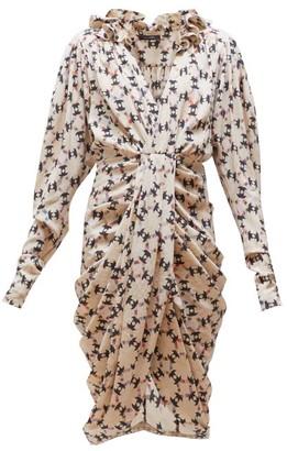Isabel Marant Blandine Draped Geometric-print Silk-blend Dress - Womens - Ivory Multi