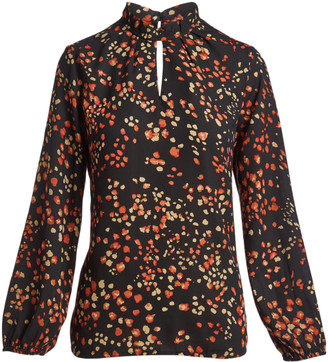 Très Jolie Women's Blouses BLACK - Black & Brown Floral Keyhole Long-Sleeve Top - Women