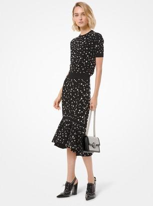 Michael Kors Star Embellished Stretch Viscose Flounce Skirt