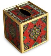 Painted glass tissue box, 'In Ruby'