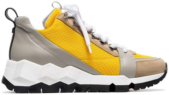 Pierre Hardy yellow, grey and white alpine neoprene and leather sneakers