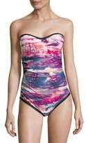 Calvin Klein One-Piece Tie-Dye Bandeau Swimsuit
