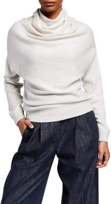 Brunello Cucinelli Long-Sleeve Paillette Cowl-Neck Sweater