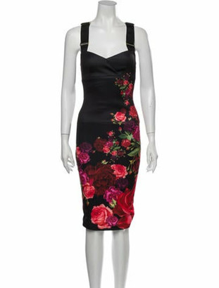 Ted Baker Floral Print Knee-Length Dress Black