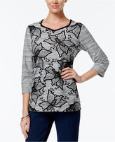 Alfred Dunner Floral-Print Beaded Top, Only at Macy's