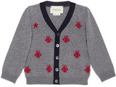 Gucci Star and Bees Wool Cardigan, Size 9-36 Months