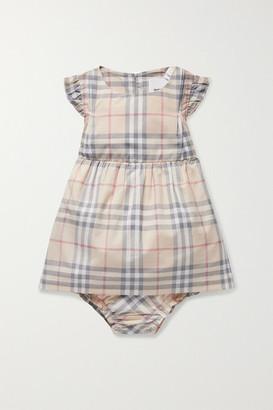 Burberry Newborn Ruffled Checked Cotton-poplin Dress And Bloomers Set - Beige