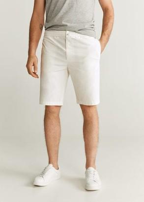 MANGO MAN - Elastic waist cotton Bermuda shorts ice grey - 28 - Men