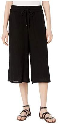 Eileen Fisher Organic Cotton Lofty Gauze Culottes Pants (Black) Women's Casual Pants
