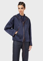 Giorgio Armani Washed Cupro Blouson With Leather Piping