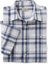 L.L. Bean Linen/Cotton Shirt, Slightly Fitted Short-Sleeve Plaid