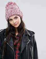 Alice Hannah Marl Chunky Knit Cable Stitch Beanie Hat