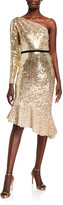 Marchesa Degrade Sequin One-Shoulder Dress w/ Asymmetrical Ruffle Hem
