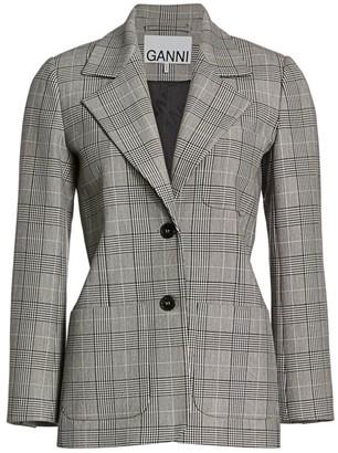 Ganni Plaid Suiting Blazer
