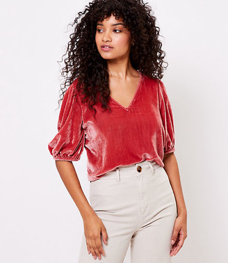 LOFT Velvet Puff Sleeve Top
