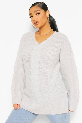boohoo Plus Cable Knit Sweater