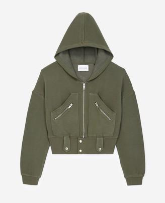 The Kooples Hooded khaki sweatshirt with zipped pockets