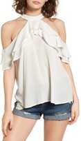 Band of Gypsies Women's Ruffle Cold Shoulder Blouse