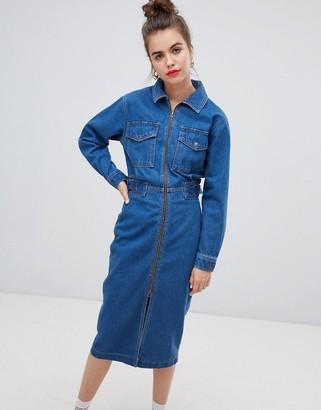 Asos Design DESIGN denim utility dress in midwash blue