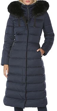 T Tahari Faux Fur Trim Hooded Puffer Coat