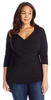 NY Collection Women's Plus-Size B-Slim Cross-Front Pullover Top