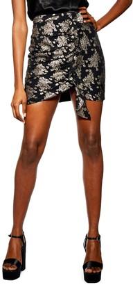 Topshop Ruched Foil Miniskirt