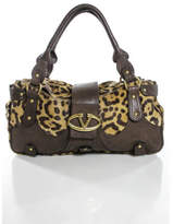 Valentino Brown Pony Hair Leopard Print Leather Trim Catch Satchel Handbag EVHB