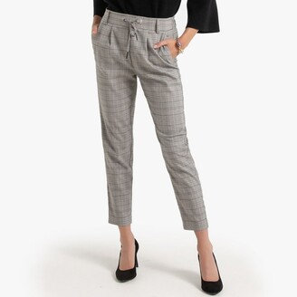 Only Straight Checked Trousers with Elasticated Waist