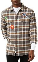 Topman Badge Plaid Flannel Shirt