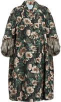 Prada Fur-cuff anemone-print silk-faille coat
