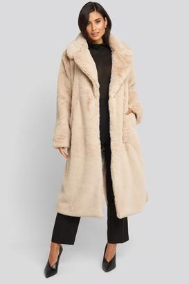 NA-KD Soft Faux Fur Long Coat Brown