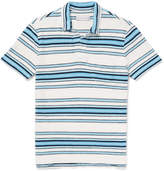 Orlebar Brown Sunmor Slim-fit Striped Cotton-terry Polo Shirt - Blue