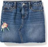 Old Navy Embroidered-Flower Denim Mini for Girls