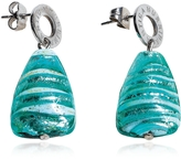 Antica Murrina Veneziana Marina 2 - Turquoise Green Murano Glass and Silver Leaf Drop Earrings