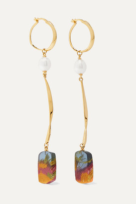 EJING ZHANG Viv Gold-plated, Pearl And Resin Earrings - one size