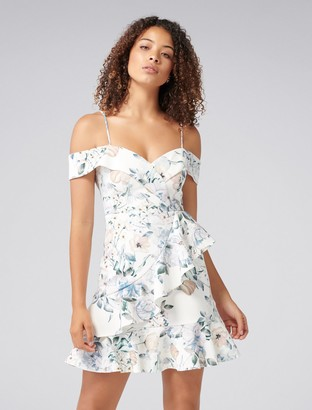 Forever New Kelly Ruffle Dress - Porcelain Floral Print - 6