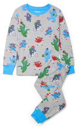 Hatley Kids' Back to School Monsters Organic Cotton Fitted Two-Piece Pajamas