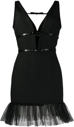 BROGNANO bow detail V-neck dress