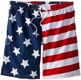 Kanu Surf Men's Big American Flag Extended Size Swim Trunks