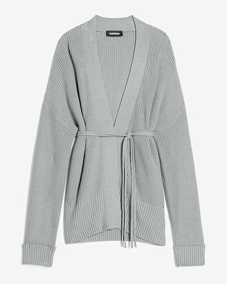 Express Ribbed Belted Cardigan