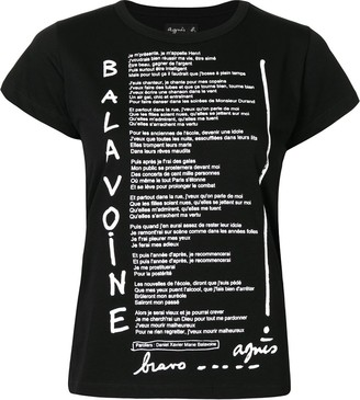 agnès b. lyrics-print cotton T-shirt