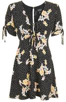 Topshop Spot floral tie tea dress
